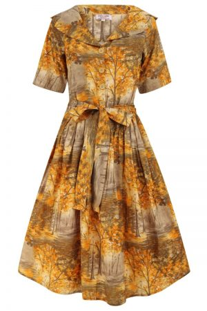 1950s Vintage Meadow Print Dress