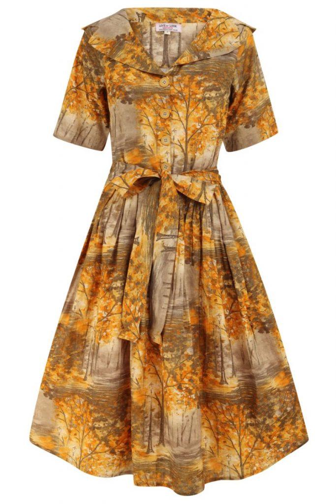 1950s Vintage Meadow Print Dress